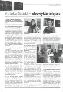 Zdjęcie z czasopisma: Artykuł o Galerii Apteka Sztuki, Niezwykłe miejsce w Warszawie