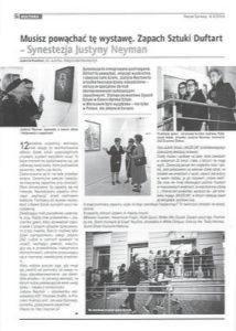 Zdjęcie z czasopisma: Artykuł o wystawie Zapach Sztuki DuftArt Synestezja Justyny Neyman