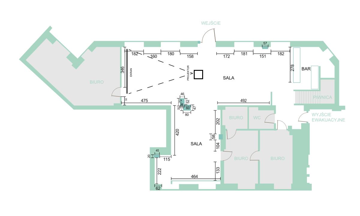 Infografika: zwymiarowany plan Galerii Apteka Sztuki