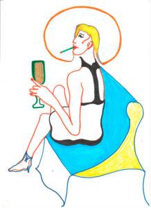 Zdjęcie pracy: Siedząca z szampanem