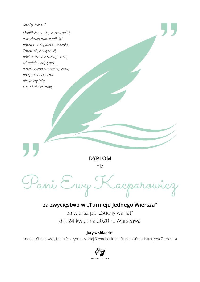 Dyplom dla Pani Ewy Kacparowicz za zajęcie I miejsca w konkursie poetyckim Plątanina absurdu