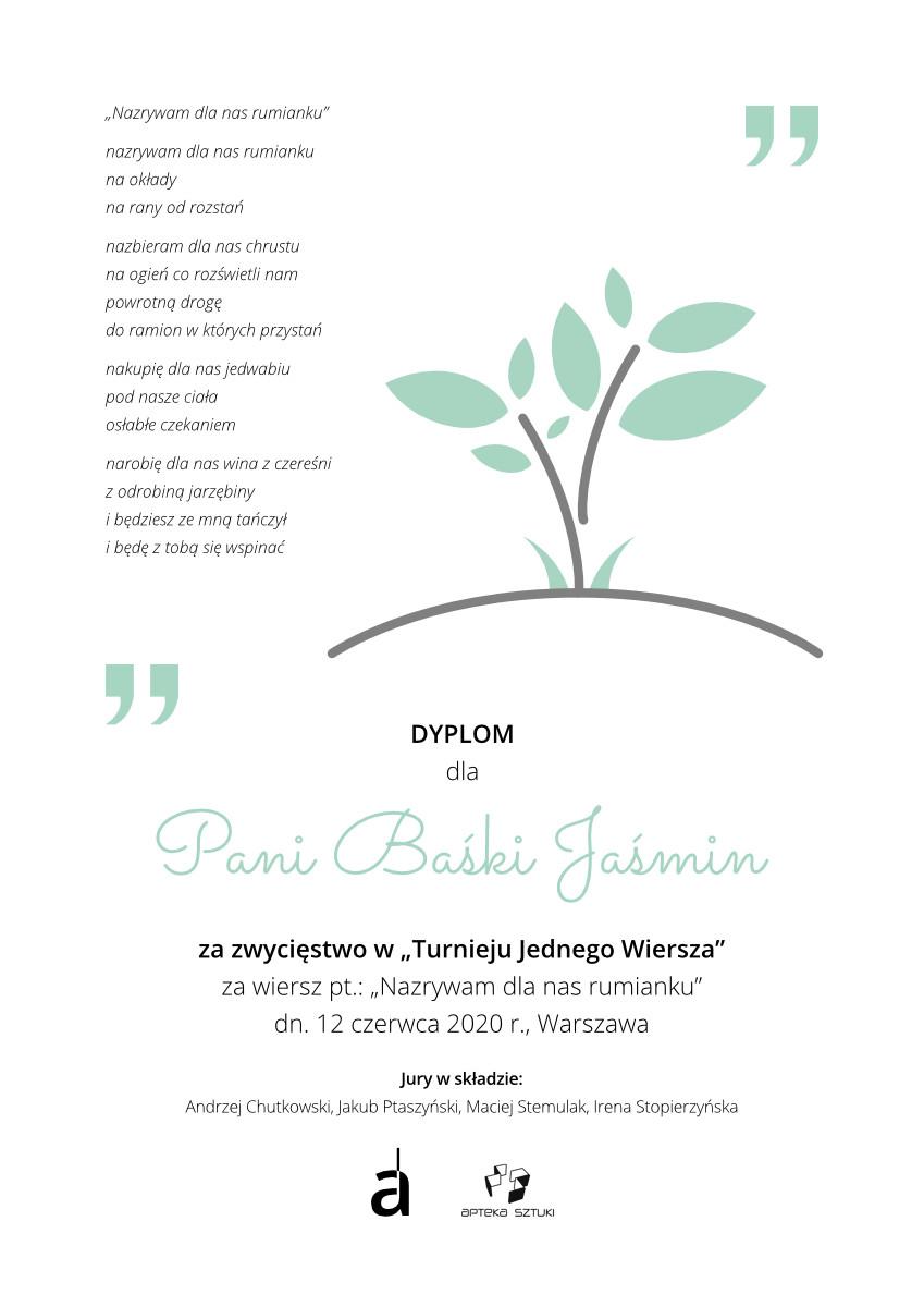 Dyplom dla Pani Baśki Jaśmin za zajęcie I miejsca w konkursie poetyckim Z nadzieją w przyszłość